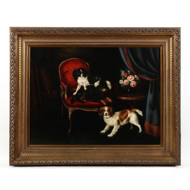 large-contemporary-decorative-painting-of-cavalier-king-charles-spaniels