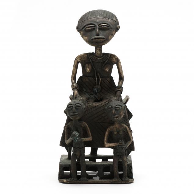 ghanaian-cast-bronze-sculpture-of-mother-and-twin-children