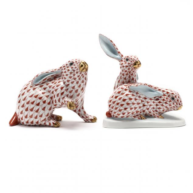 two-herend-porcelain-rabbits