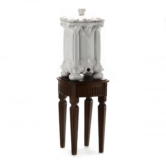 french-faience-lidded-cooler-and-louis-xvi-style-oak-stand