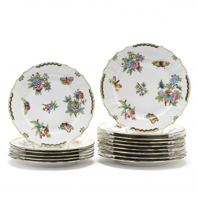 an-assembled-set-of-herend-i-queen-victoria-i-plates