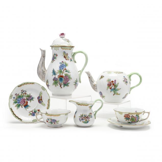 herend-i-queen-victoria-i-porcelain-partial-tea-coffee-service