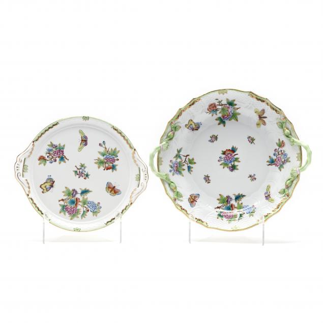 two-herend-i-queen-victoria-i-round-platters