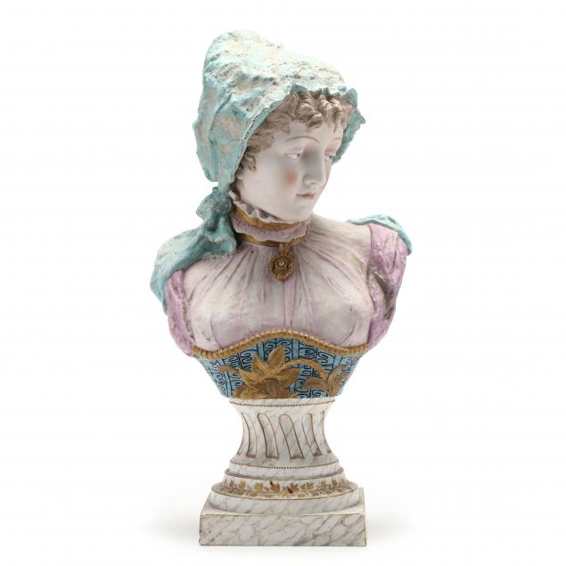 a-large-continental-hand-painted-bisque-bust-of-a-gypsy
