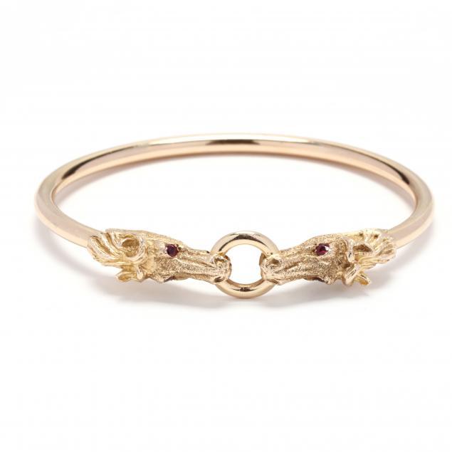 gold-and-ruby-horse-motif-bangle-bracelet