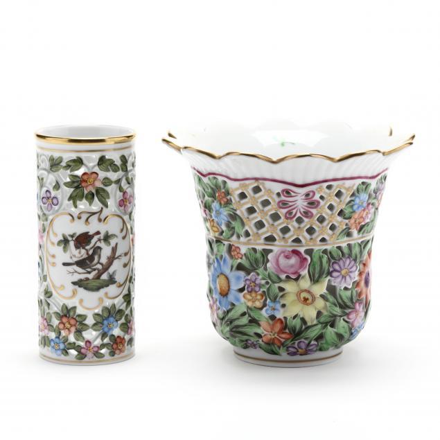 two-herend-porcelain-vases