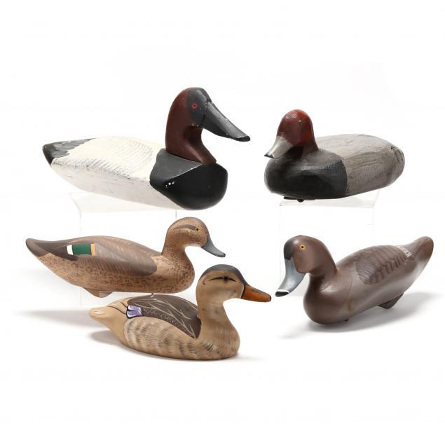 five-assorted-duck-decoys