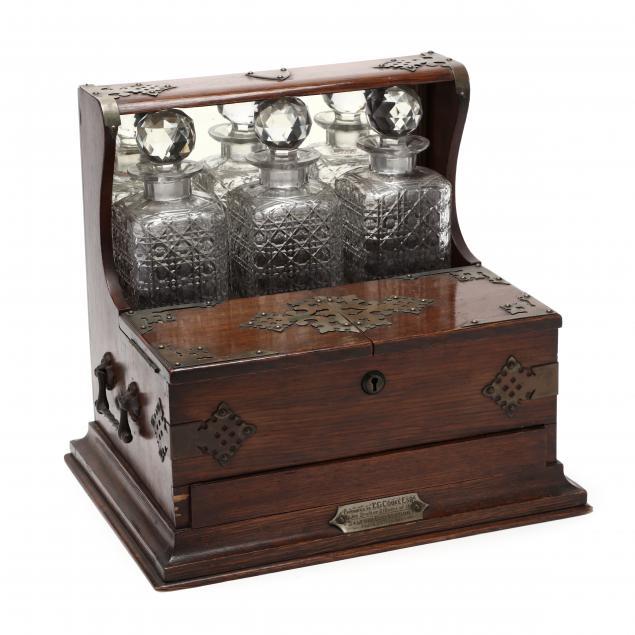 antique-oak-tantalus-with-presentation-plaque
