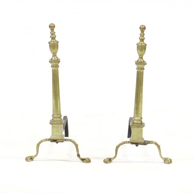 pair-of-chippendale-style-brass-andirons