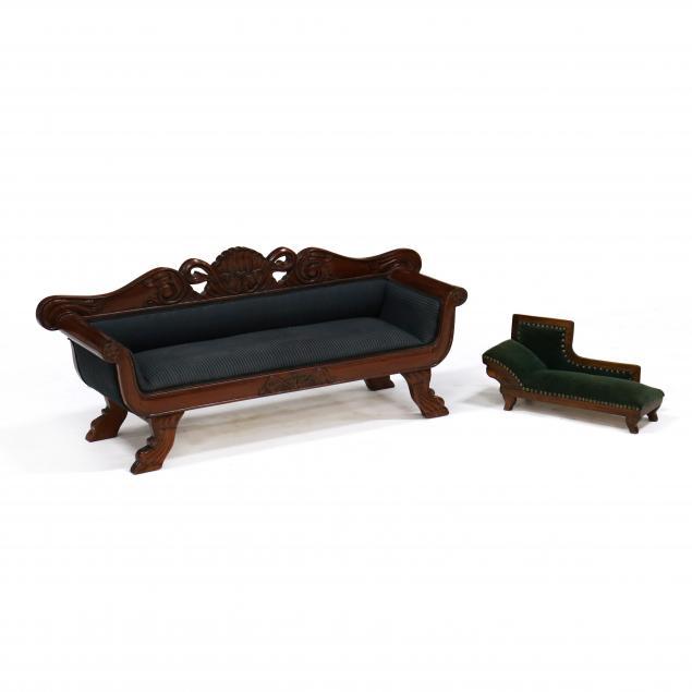 miniature-recamier-and-carved-mahogany-miniature-sofa