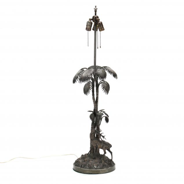 antique-silverplate-stag-and-palm-tree-figural-table-lamp