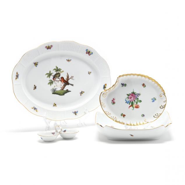 four-herend-i-rothschild-bird-i-porcelain-tableware-pieces
