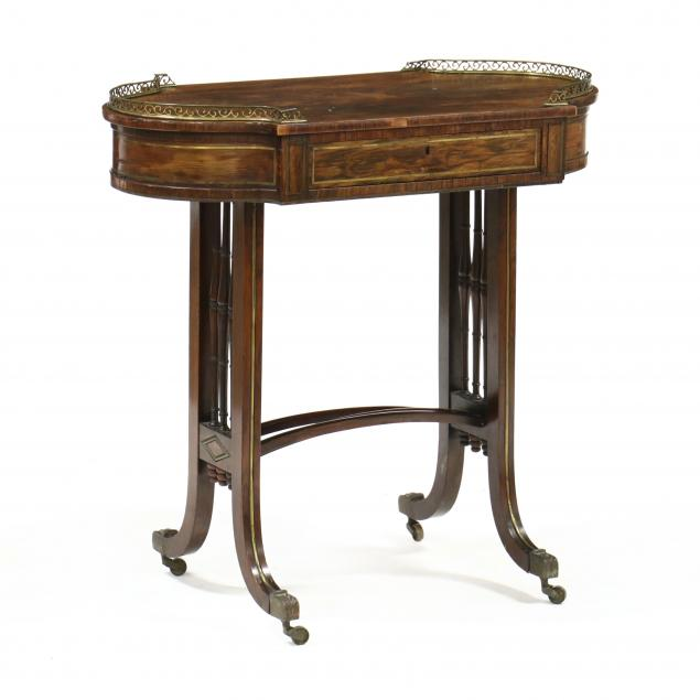 french-regency-rosewood-and-brass-one-drawer-table