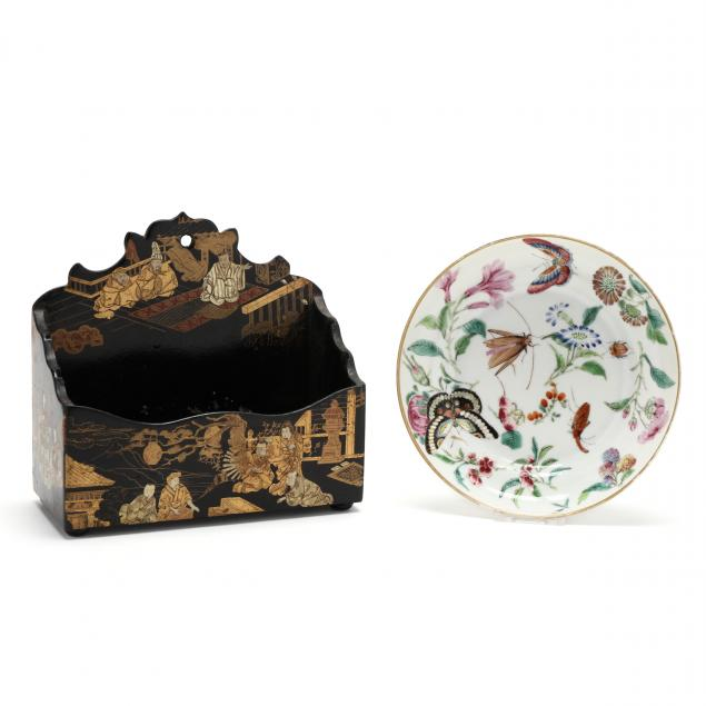a-chinese-famille-rose-porcelain-dish-with-insects-and-lacquered-desk-accessory