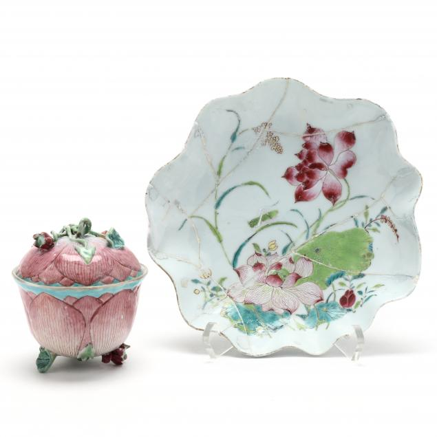 a-chinese-export-porcelain-lotus-dish-and-covered-tea-bowl
