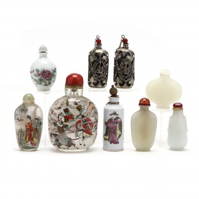 a-group-of-nine-chinese-snuff-bottles