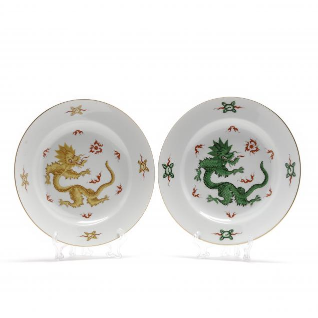 two-contemporary-meissen-dragon-plates