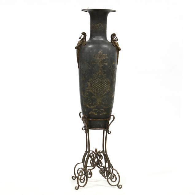 large-decorative-continental-floor-urn-on-stand