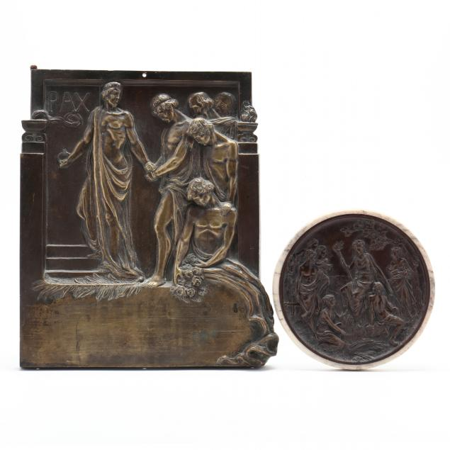 two-classical-style-bronze-figural-wall-plaques