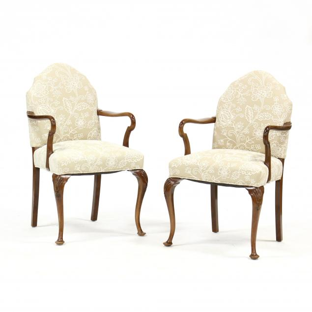 pair-of-queen-anne-style-upholstered-mahogany-armchairs