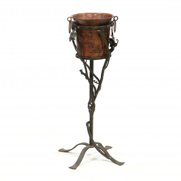 spanish-style-wrought-iron-and-copper-wine-stand