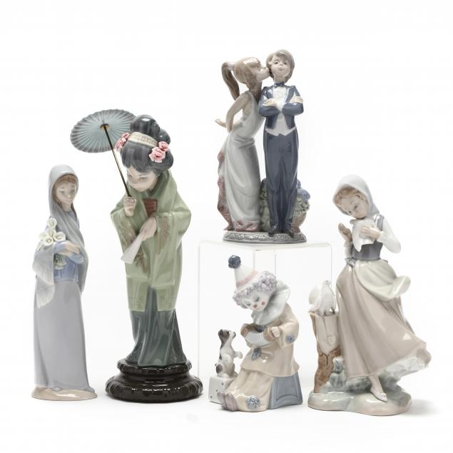selection-of-five-lladro-figurines