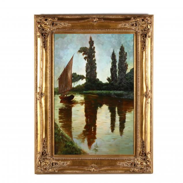 large-decorative-waterscape-painting-with-sailboat