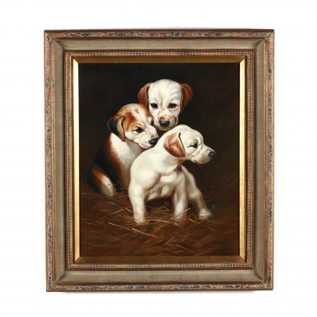 decorative-painting-of-three-hound-puppies