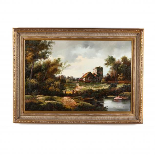 large-decorative-landscape-painting-with-cottage