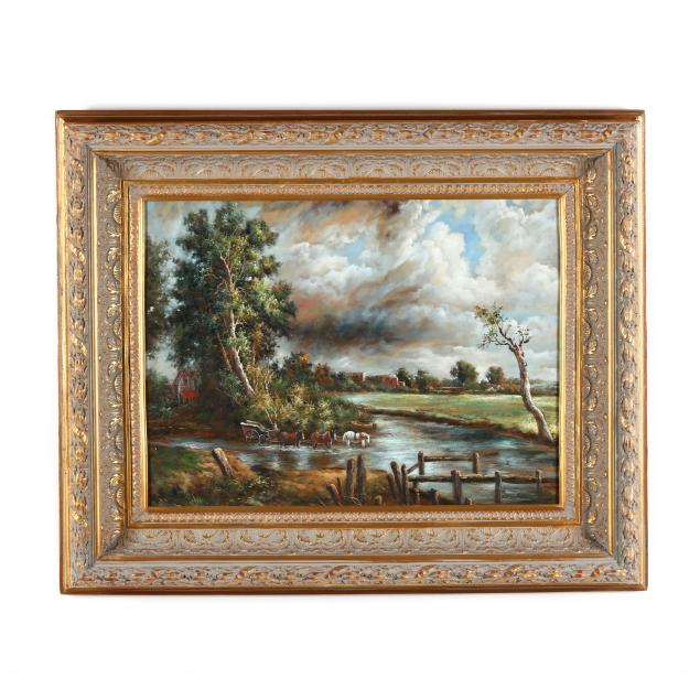 decorative-landscape-painting-with-a-carriage-crossing-a-stream