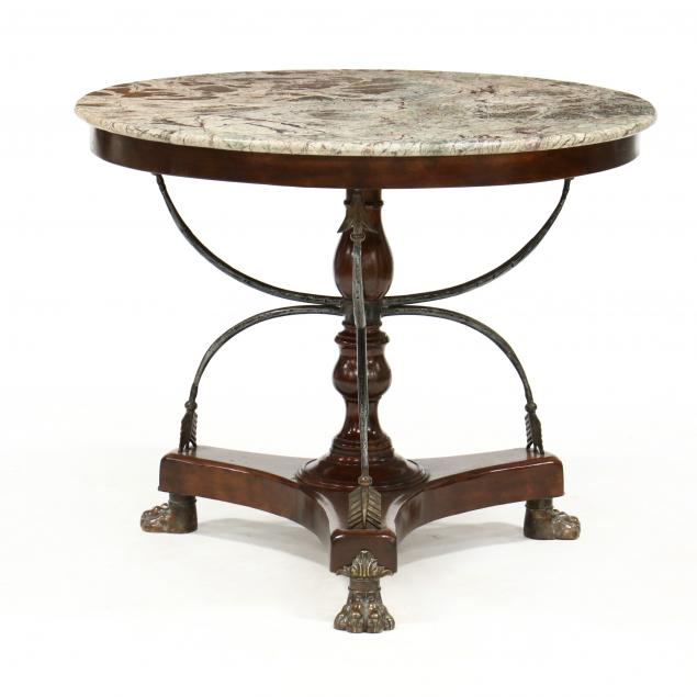 continental-style-mahogany-and-marble-top-center-table