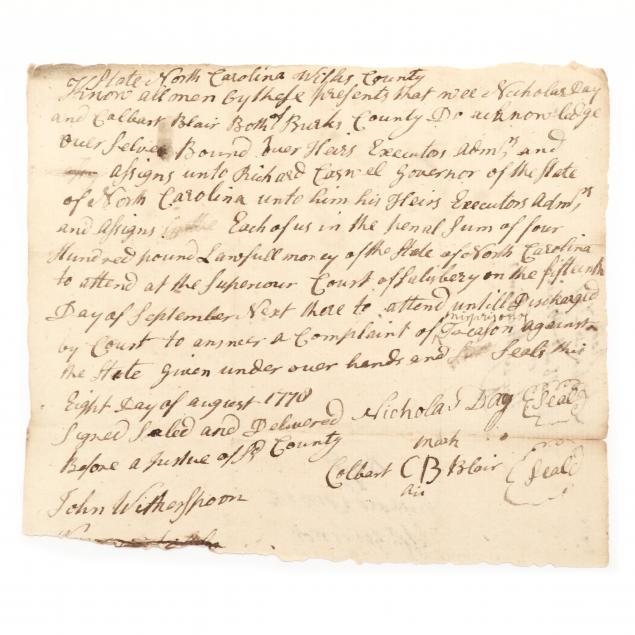 north-carolina-revolutionary-war-treason-bond-posted-to-first-governor-richard-caswell