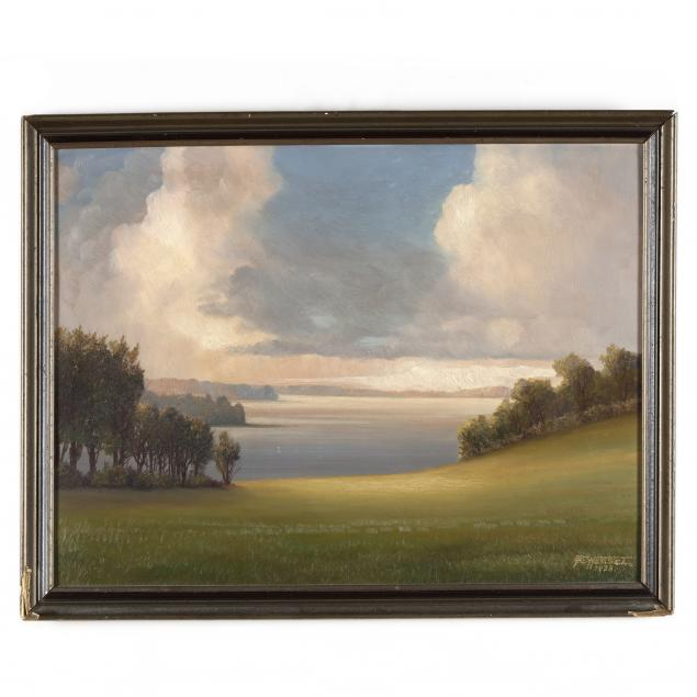 gemalde-von-rudolf-wessel-american-20th-century-i-abend-am-selenter-see-evening-on-lake-selenter-i
