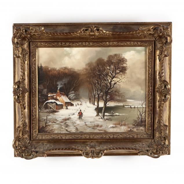 danish-school-20th-century-winter-village-scene