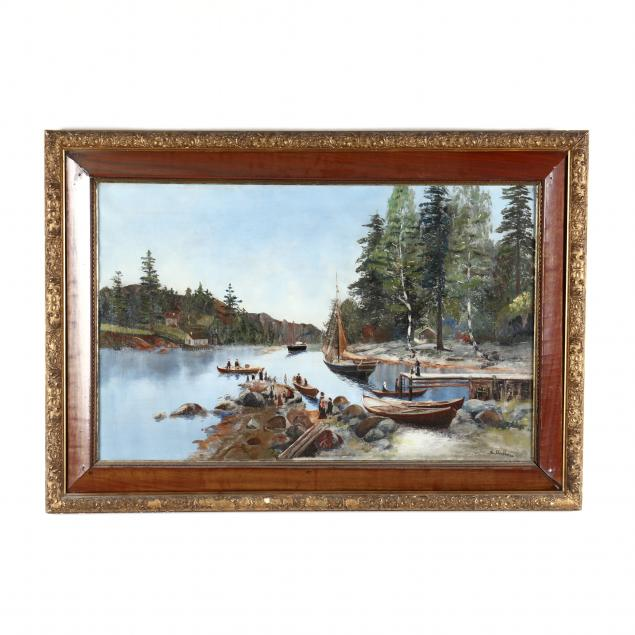 large-waterscape-painting-of-a-boating-send-off