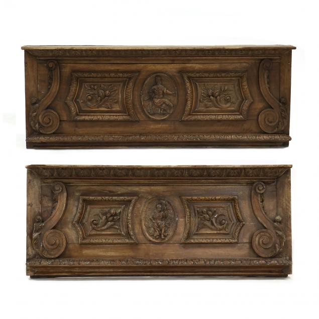 two-antique-continental-carved-walnut-architectural-friezes