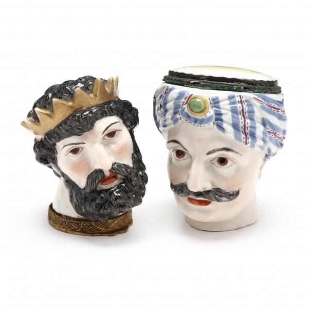 two-antique-continental-porcelain-figural-snuff-boxes
