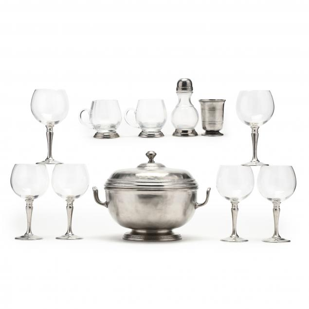 eleven-pieces-of-handmade-italian-pewter-including-match