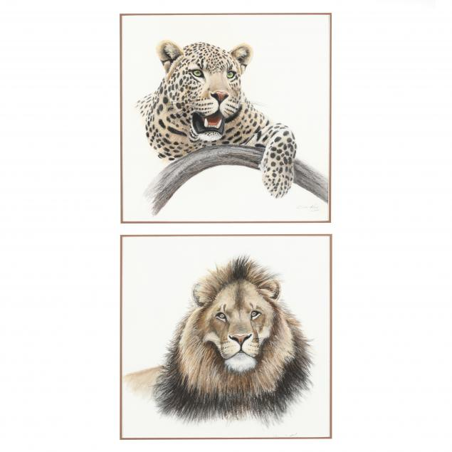 clive-kay-zimbabwean-canadian-born-1944-two-animal-portraits-lion-and-leopard