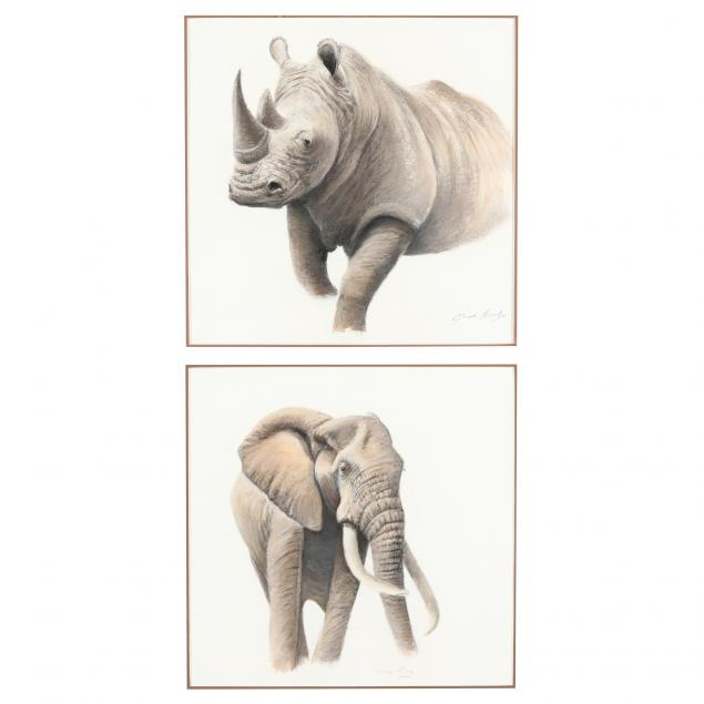 clive-kay-zimbabwean-canadian-born-1944-two-animal-portraits-elephant-and-rhinoceros