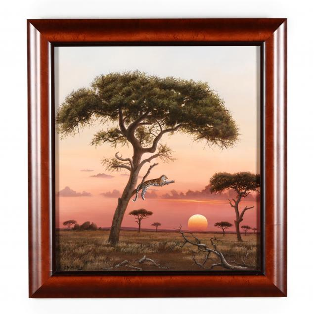 clive-kay-zimbabwean-canadian-born-1944-african-sunset-with-leopard