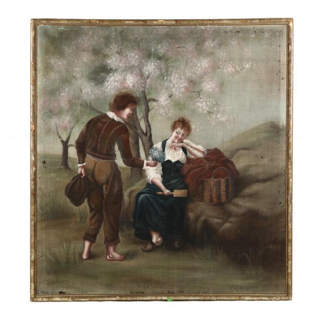 a-large-painted-tapestry-of-a-courting-couple