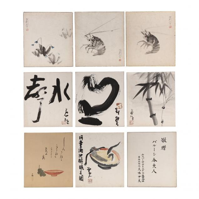 nine-japanese-unframed-paintings-on-paper-board