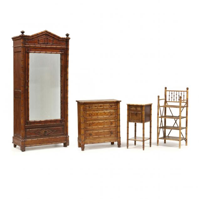four-pieces-of-antique-faux-bamboo-furniture