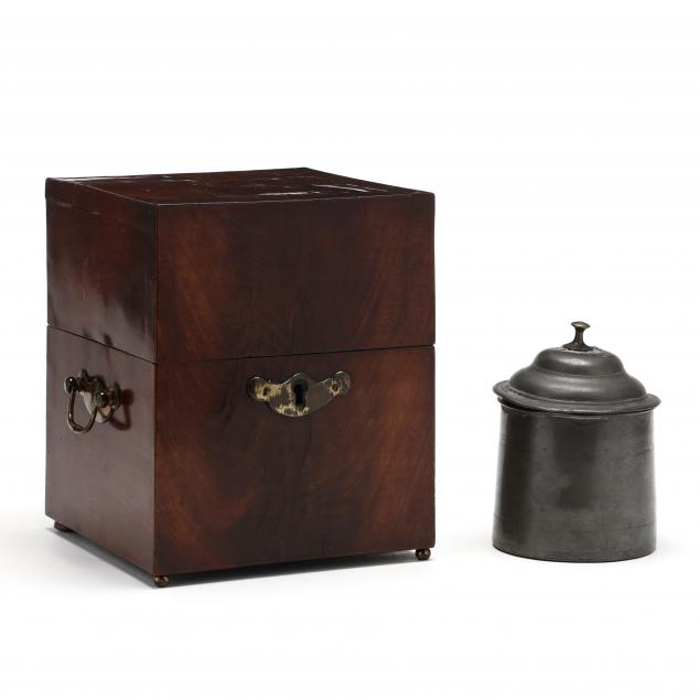 antique-pewter-tobacco-jar-and-mahogany-box