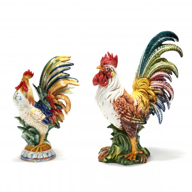 two-large-contemporary-ceramics-a-rooster-and-a-chicken-fitz-and-floyd-ricamo