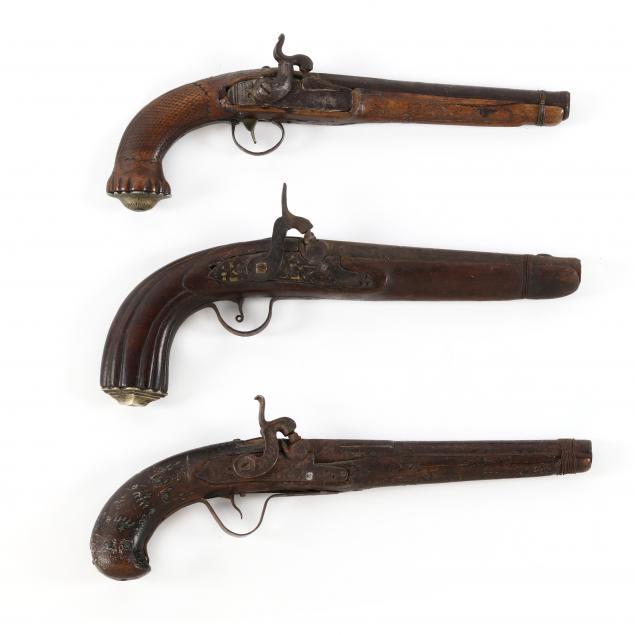 three-decorative-continental-percussion-pistols