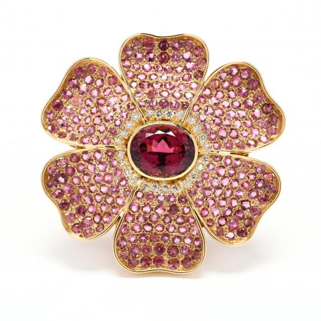 18kt-gold-pink-tourmaline-pink-sapphire-and-diamond-brooch-pendant