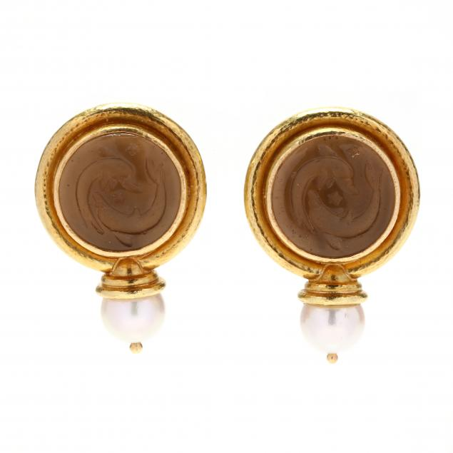 18kt-gold-venetian-glass-intaglio-and-pearl-earrings