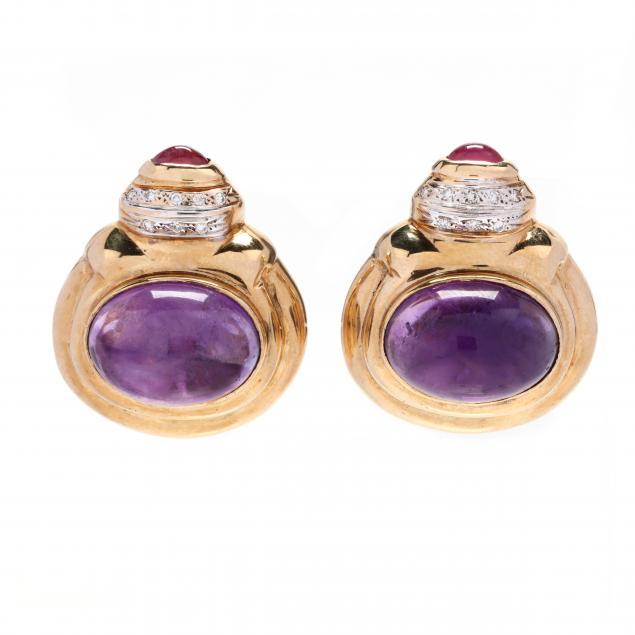 14kt-gold-and-gem-set-earrings